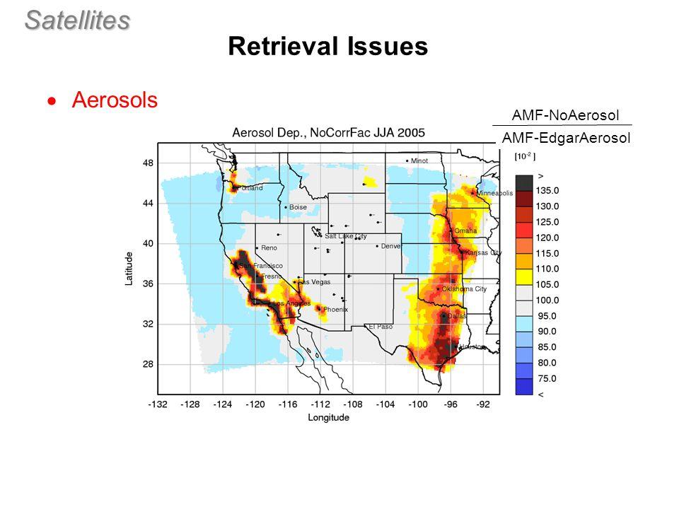 Satellites  Aerosols Retrieval Issues (aero2) AMF-NoAerosol AMF-EdgarAerosol