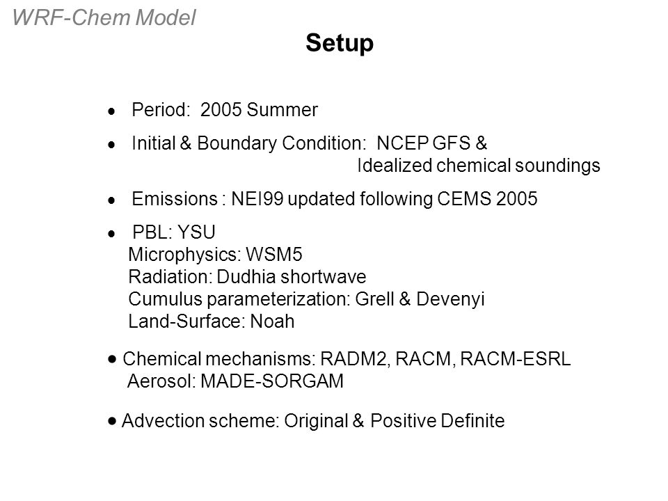  Period: 2005 Summer  Initial & Boundary Condition: NCEP GFS & Idealized chemical soundings  Emissions : NEI99 updated following CEMS 2005  PBL: Y