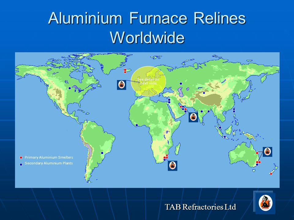 TAB Refractories Ltd Aluminium Furnace Relines Worldwide Primary Aluminium Smelters Secondary Aluminium Plants See detail on next slide
