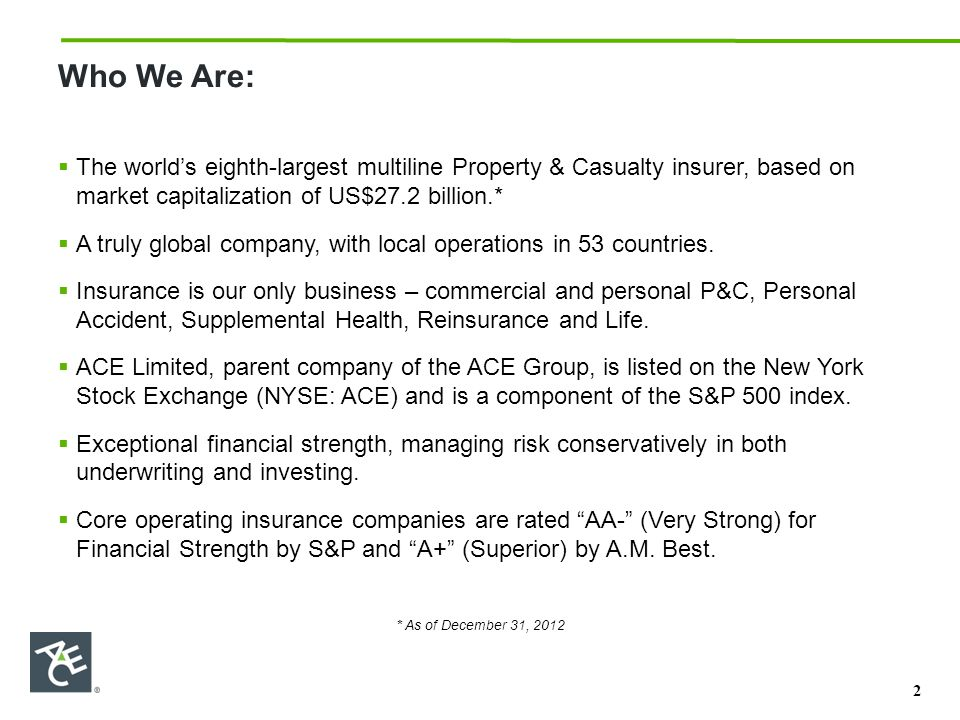 Who We Are:  The world's eighth-largest multiline Property & Casualty insurer, based on market capitalization of US$27.2 billion.*  A truly global company, with local operations in 53 countries.