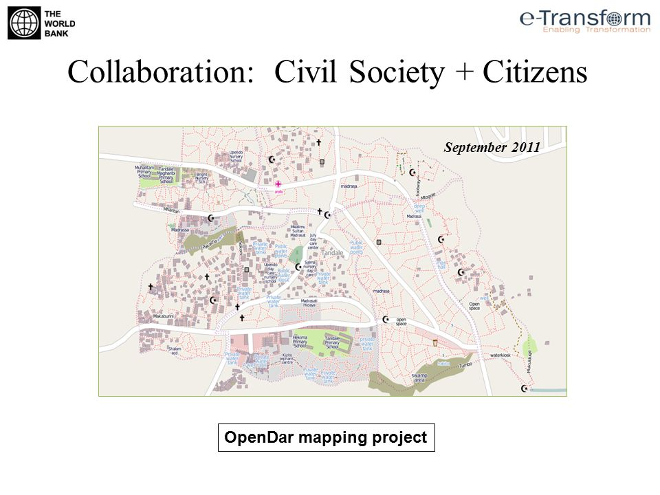 OpenDar mapping project August 2011 September 2011 Collaboration: Civil Society + Citizens