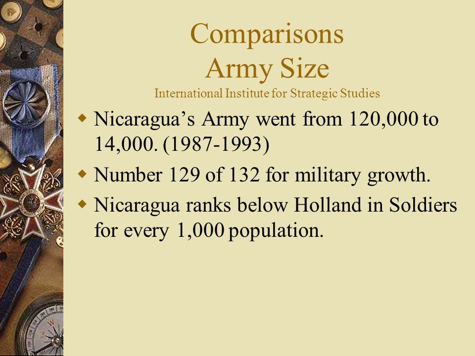Comparisons Army Size International Institute for Strategic Studies  Nicaragua's Army went from 120,000 to 14,000.