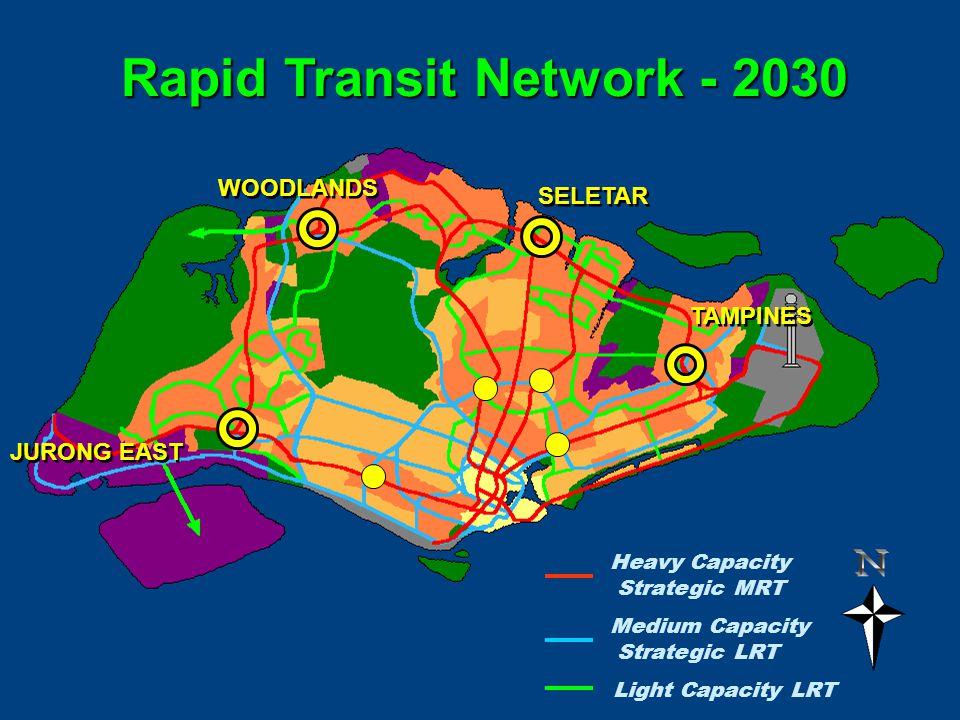 Rapid Transit Network - 2030 Medium Capacity Strategic LRT Light Capacity LRT Heavy Capacity Strategic MRT JURONG EAST WOODLANDS SELETAR TAMPINES