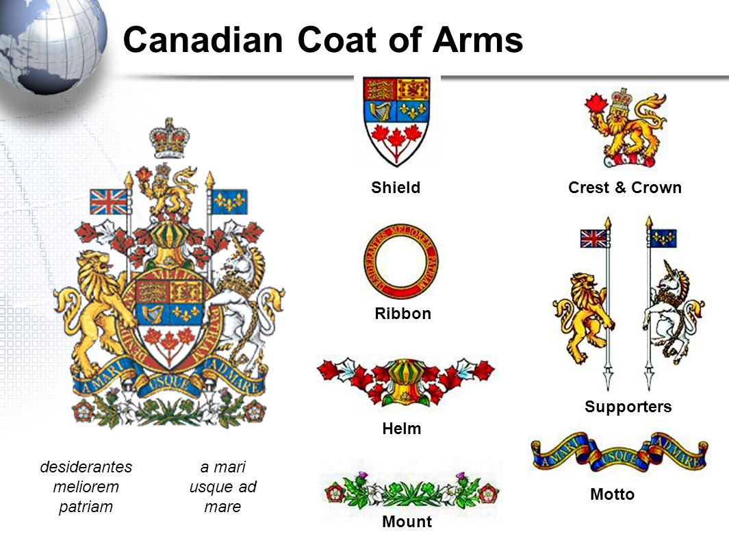 Canadian Coat of Arms Shield Ribbon Helm Mount Crest & Crown Supporters Motto desiderantes meliorem patriam a mari usque ad mare