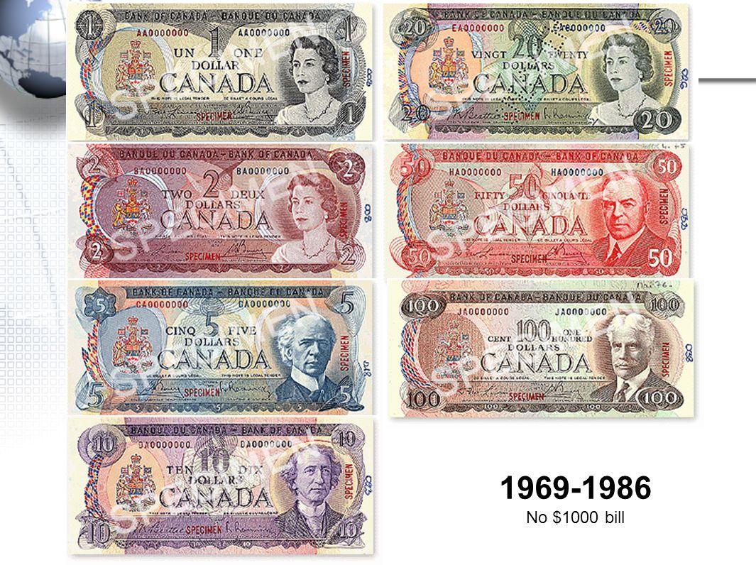 1969-1986 No $1000 bill