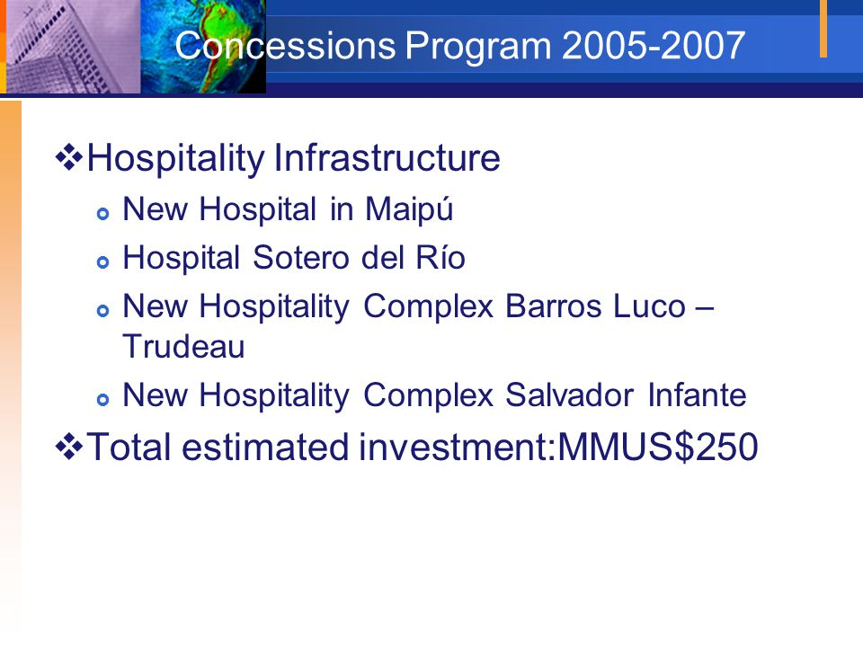 Concessions Program 2005-2007  Hospitality Infrastructure  New Hospital in Maipú  Hospital Sotero del Río  New Hospitality Complex Barros Luco – T