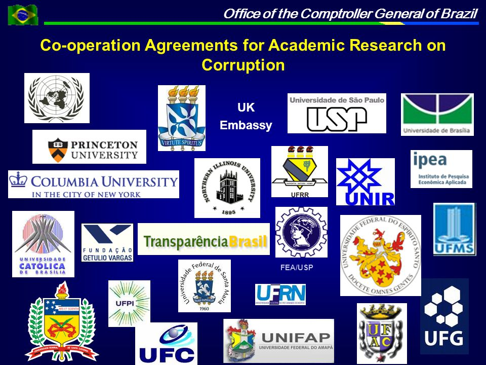 Office of the Comptroller General of Brazil Co-operation Agreements for Academic Research on Corruption FEA/USP UK Embassy