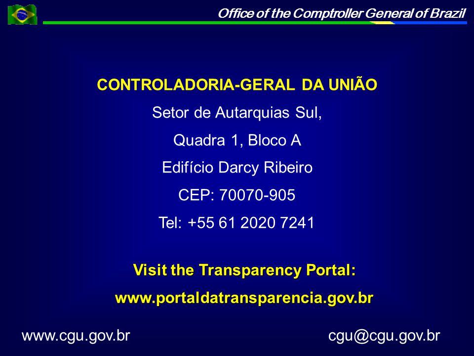 CONTROLADORIA-GERAL DA UNIÃO Setor de Autarquias Sul, Quadra 1, Bloco A Edifício Darcy Ribeiro CEP: 70070-905 Tel: +55 61 2020 7241 www.cgu.gov.br cgu@cgu.gov.br Visit the Transparency Portal: www.portaldatransparencia.gov.br