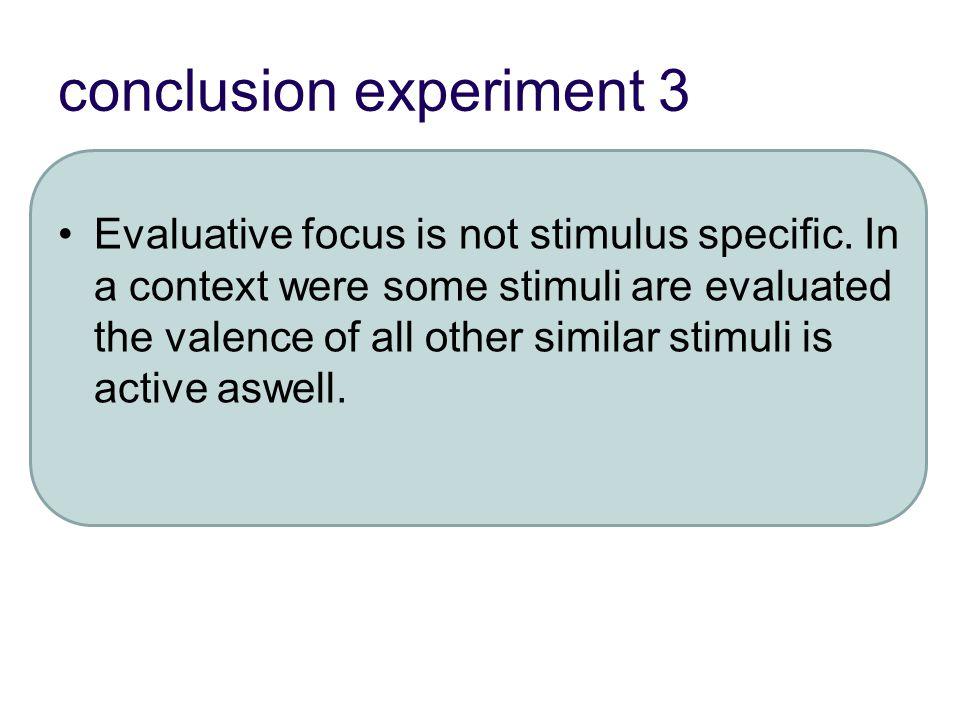 conclusion experiment 3 Evaluative focus is not stimulus specific.