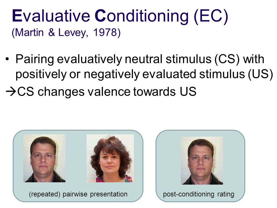 Evaluative Conditioning (EC) (Martin & Levey, 1978) Pairing evaluatively neutral stimulus (CS) with positively or negatively evaluated stimulus (US)  CS changes valence towards US (repeated) pairwise presentationpost-conditioning rating