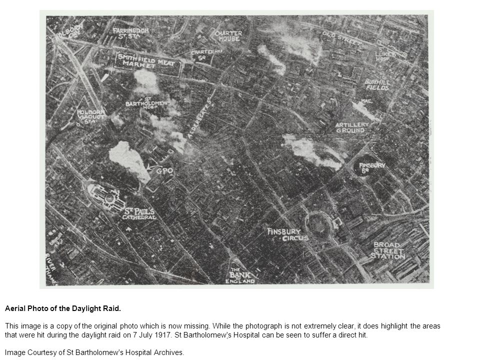Aerial Photo of the Daylight Raid. This image is a copy of the original photo which is now missing.