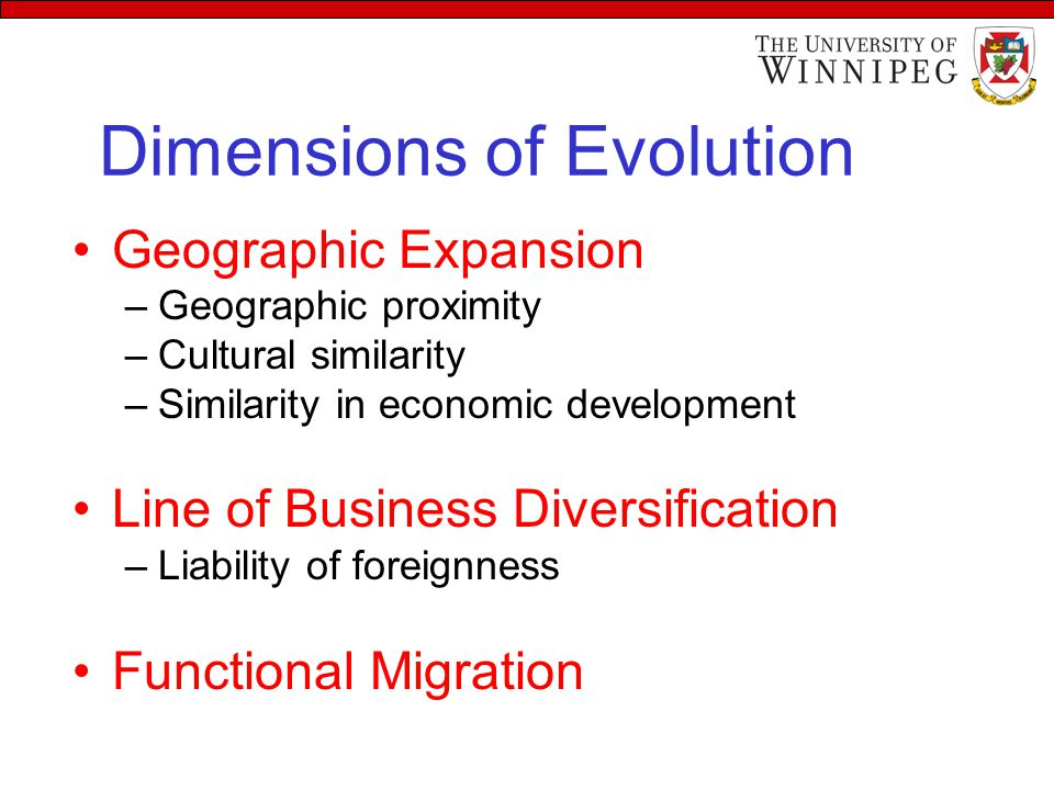 Dimensions of Evolution Geographic Expansion –Geographic proximity –Cultural similarity –Similarity in economic development Line of Business Diversification –Liability of foreignness Functional Migration