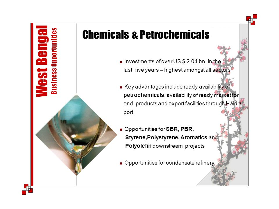 Chemicals & Petrochemicals West Bengal Business Opportunities Investments of over US $ 2.04 bn in the last five years – highest amongst all sectors Ke
