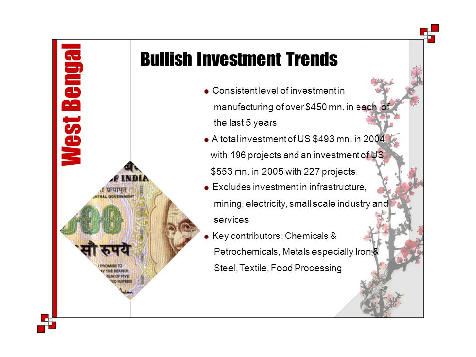 West Bengal Bullish Investment Trends Consistent level of investment in manufacturing of over $450 mn. in each of the last 5 years A total investment