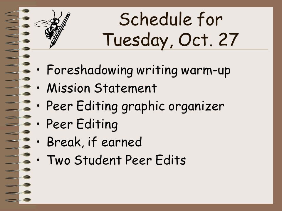 Schedule for Tuesday, Oct.