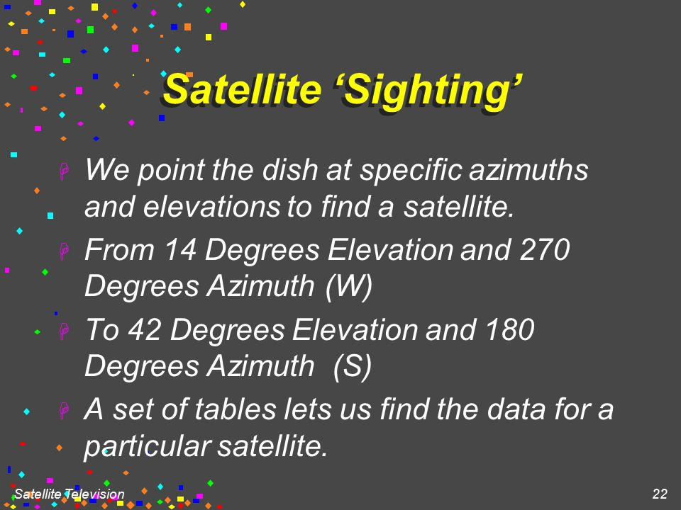 Satellite Television 22 Satellite 'Sighting' H We point the dish at specific azimuths and elevations to find a satellite.