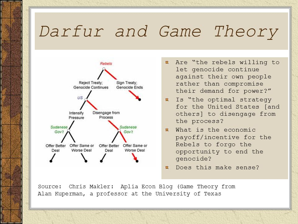 Darfur and Game Theory Are the rebels willing to let genocide continue against their own people rather than compromise their demand for power? Is the optimal strategy for the United States [and others] to disengage from the process.