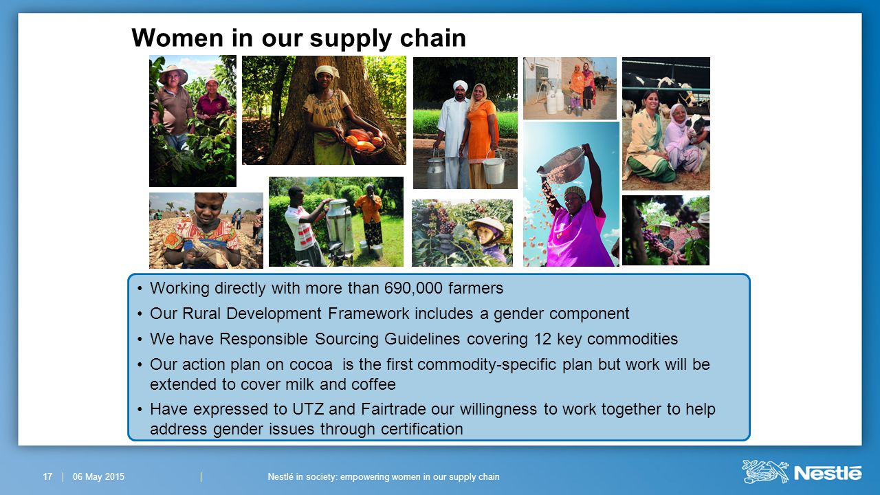 Women in our supply chain 06 May 201517Nestlé in society: empowering women in our supply chain Working directly with more than 690,000 farmers Our Rural Development Framework includes a gender component We have Responsible Sourcing Guidelines covering 12 key commodities Our action plan on cocoa is the first commodity-specific plan but work will be extended to cover milk and coffee Have expressed to UTZ and Fairtrade our willingness to work together to help address gender issues through certification