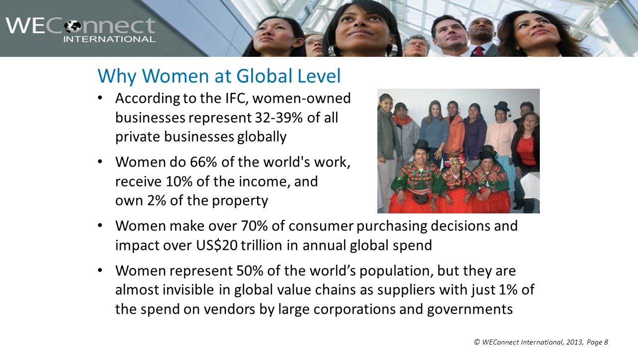 © WEConnect International, 2013, Page 8 Why Women at Global Level According to the IFC, women-owned businesses represent 32-39% of all private businesses globally Women do 66% of the world s work, receive 10% of the income, and own 2% of the property Women make over 70% of consumer purchasing decisions and impact over US$20 trillion in annual global spend Women represent 50% of the world's population, but they are almost invisible in global value chains as suppliers with just 1% of the spend on vendors by large corporations and governments