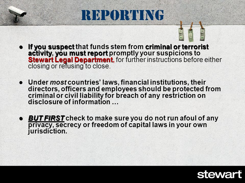 Examples of Red Flags Cash – Actual Currency Transactions Land Flips – multiple transactions involving the same property Straw Man Transactions – Corporate Shells and Trusts Straw Man Transactions – Corporate Shells and Trusts Third Party depositors Third Party depositors Escrow deposit refund schemes Escrow deposit refund schemes Use of General Powers of Attorney Use of Shell Banks/Banks in OFAC listed countries Use of Bearer Corporate Shares to own Use of numerous deposits under $10,000 each