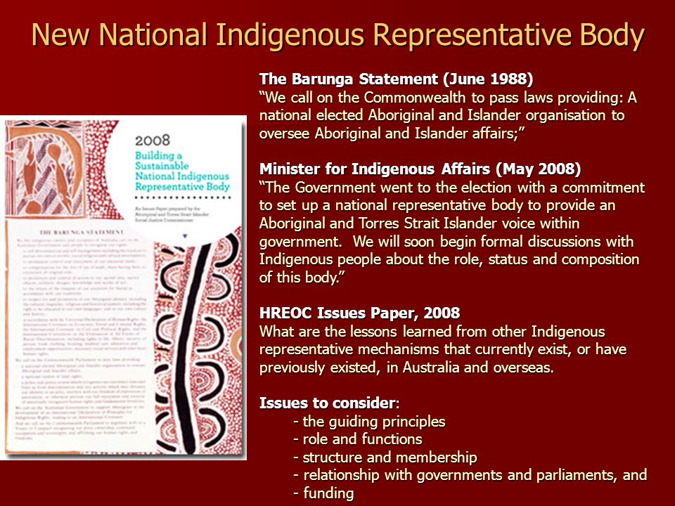New National Indigenous Representative Body The Barunga Statement (June 1988) We call on the Commonwealth to pass laws providing: A national elected Aboriginal and Islander organisation to oversee Aboriginal and Islander affairs; Minister for Indigenous Affairs (May 2008) The Government went to the election with a commitment to set up a national representative body to provide an Aboriginal and Torres Strait Islander voice within government.