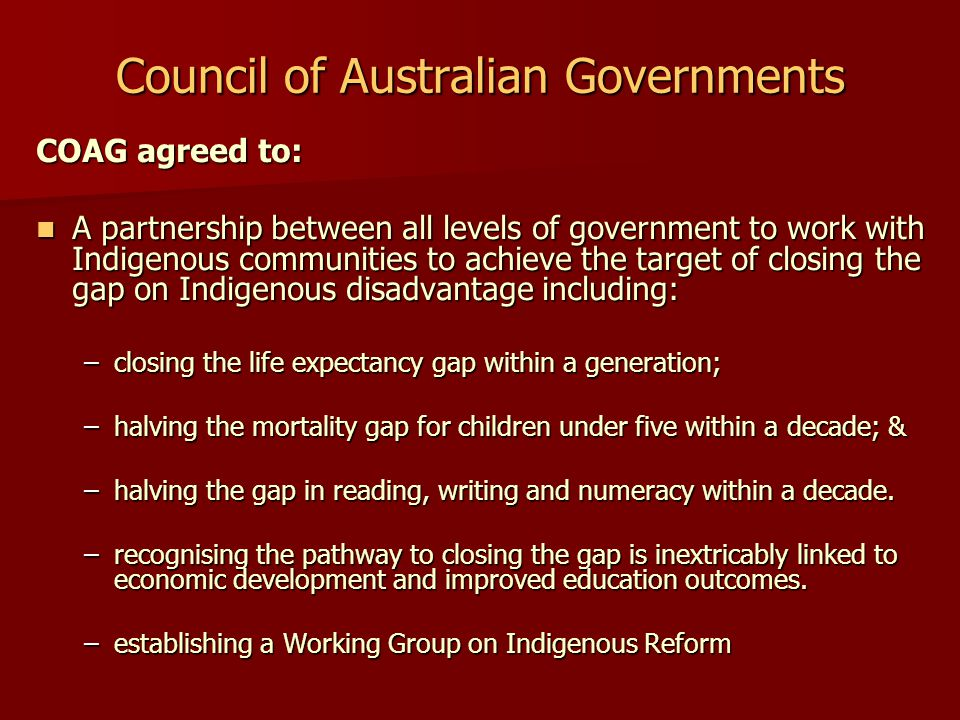 Health Equality Targets Partnership Targets – to lock into place a collaborative approach to Indigenous health; Partnership Targets – to lock into place a collaborative approach to Indigenous health; Health Status Targets - Targets that focus on specific priority areas of child and maternal health, chronic disease and mental health and emotional and social wellbeing; Health Status Targets - Targets that focus on specific priority areas of child and maternal health, chronic disease and mental health and emotional and social wellbeing; Primary Health Care and other Health Services Targets; and Primary Health Care and other Health Services Targets; and Infrastructure Targets.