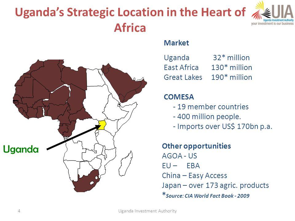 4 Market Uganda 32* million East Africa130* million Great Lakes 190* million COMESA - 19 member countries - 400 million people.