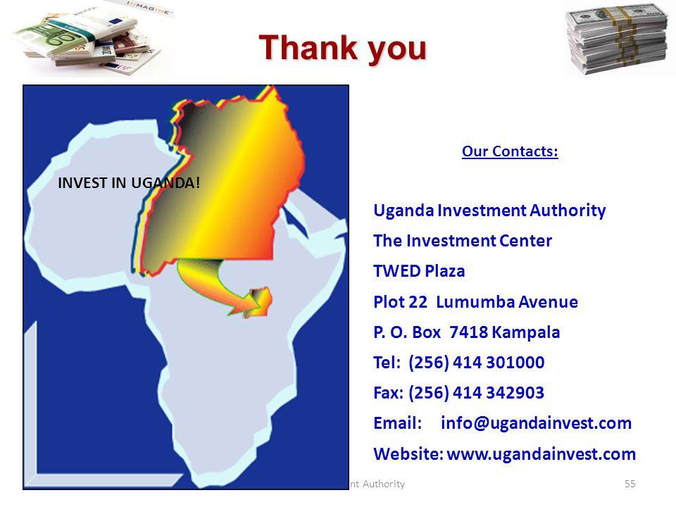 Uganda Investment Authority55 Our Contacts: Uganda Investment Authority The Investment Center TWED Plaza Plot 22 Lumumba Avenue P.