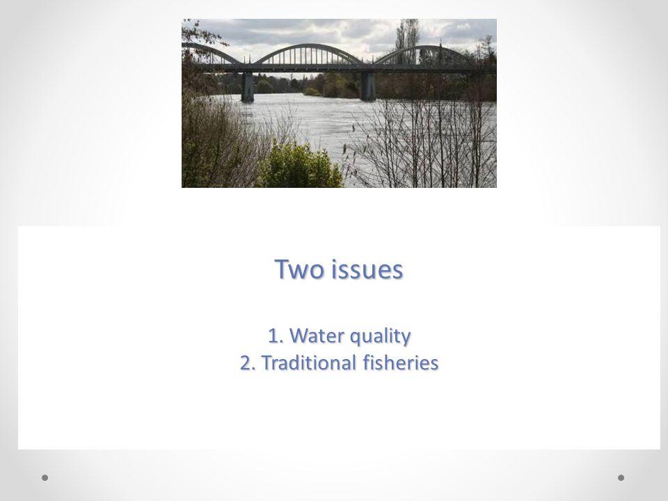 Two issues 1. Water quality 2. Traditional fisheries