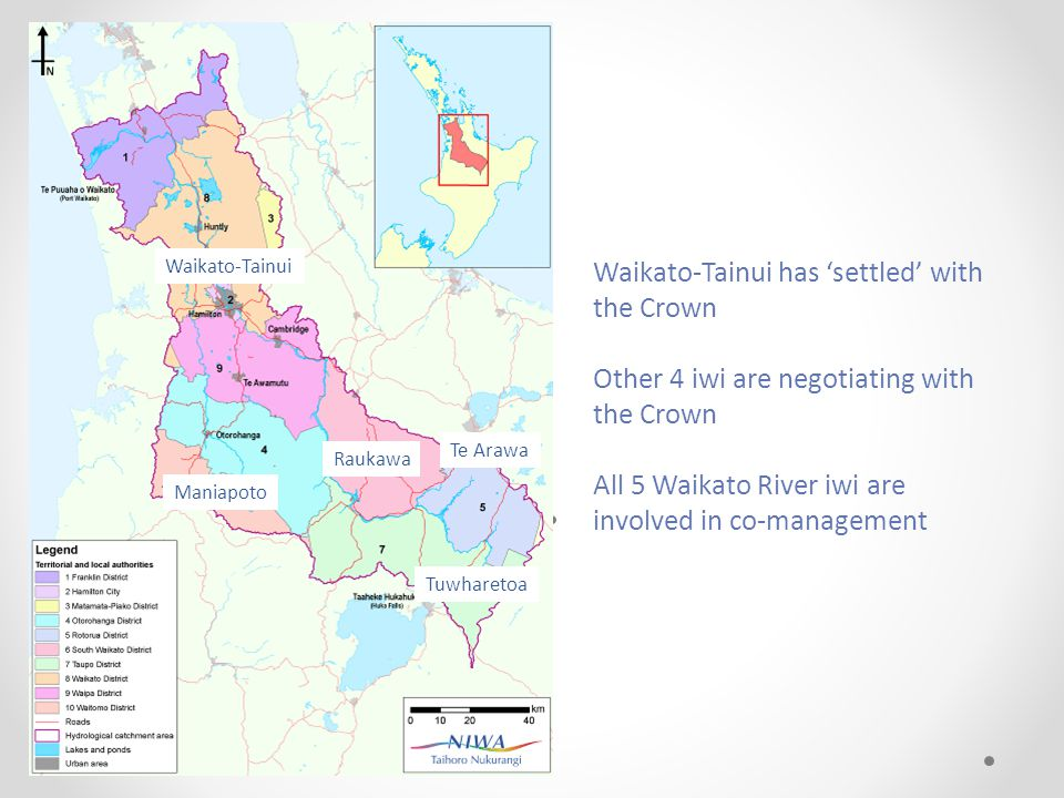 Waikato-Tainui Maniapoto Raukawa Te Arawa Tuwharetoa Waikato-Tainui has 'settled' with the Crown Other 4 iwi are negotiating with the Crown All 5 Waikato River iwi are involved in co-management