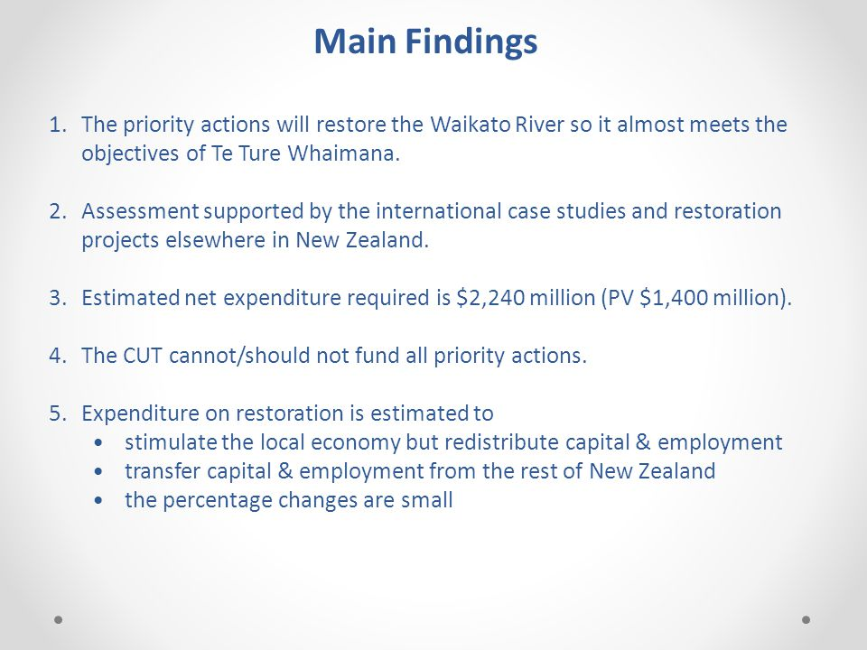 Main Findings 1.The priority actions will restore the Waikato River so it almost meets the objectives of Te Ture Whaimana.