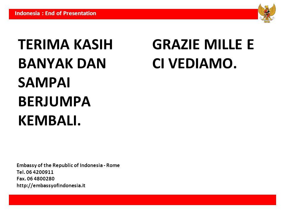 Indonesia : End of Presentation TERIMA KASIH BANYAK DAN SAMPAI BERJUMPA KEMBALI. GRAZIE MILLE E CI VEDIAMO. Embassy of the Republic of Indonesia - Rom