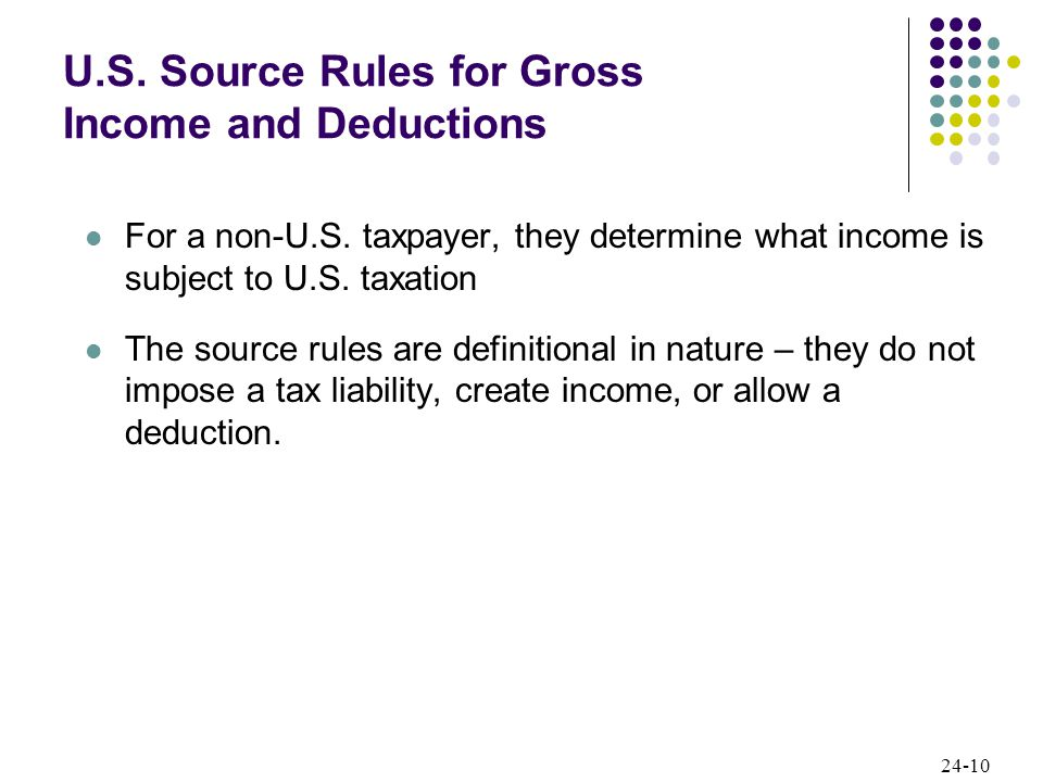 24-10 U.S. Source Rules for Gross Income and Deductions For a non-U.S.