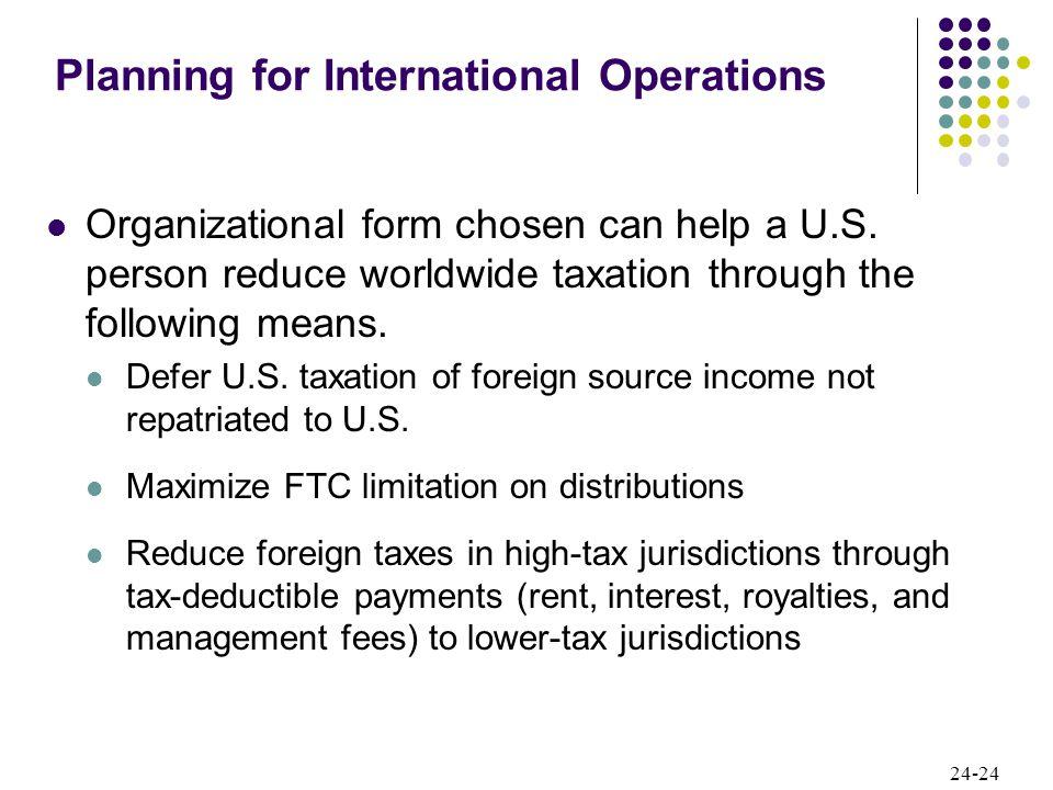 24-24 Organizational form chosen can help a U.S.