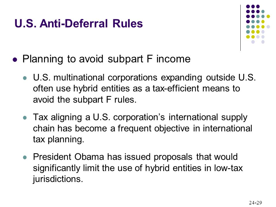 24-29 Planning to avoid subpart F income U.S. multinational corporations expanding outside U.S.