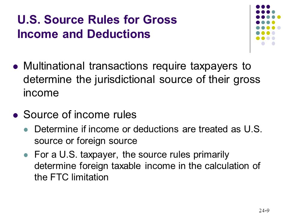 24-10 U.S.Source Rules for Gross Income and Deductions For a non-U.S.