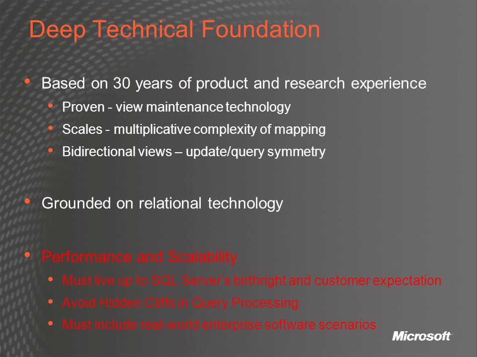 Deep Technical Foundation Based on 30 years of product and research experience Proven - view maintenance technology Scales - multiplicative complexity