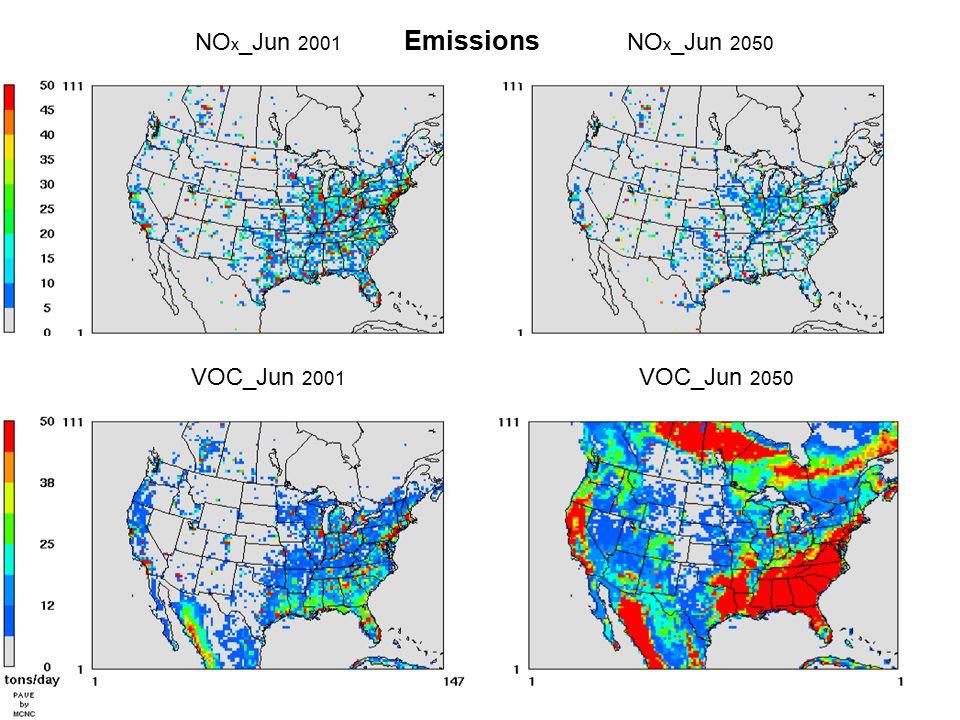 NO x _Jun 2001 NO x _Jun 2050 VOC_Jun 2001 VOC_Jun 2050 Emissions