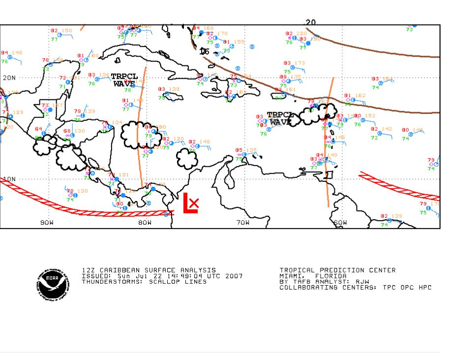 NHC Tropical wave analysis (previous) and morning Satellite image (20070722)