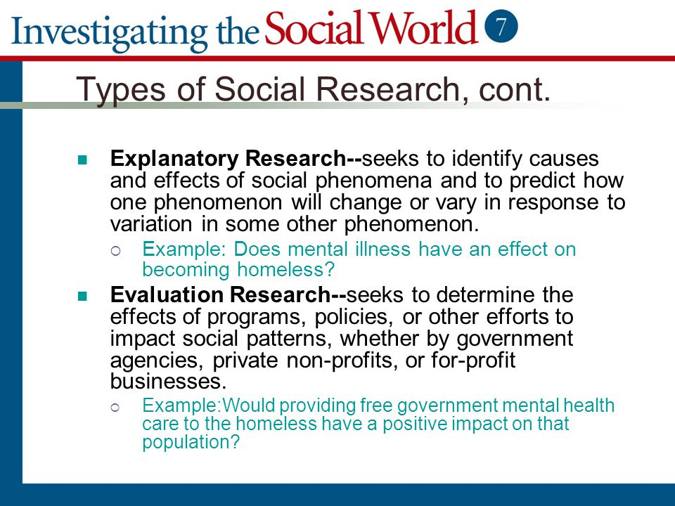 Types of Social Research, cont. Explanatory Research--seeks to identify causes and effects of social phenomena and to predict how one phenomenon will