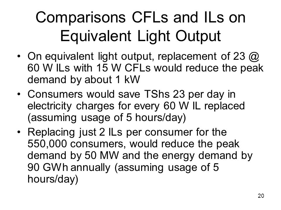 20 Comparisons CFLs and ILs on Equivalent Light Output On equivalent light output, replacement of 23 @ 60 W ILs with 15 W CFLs would reduce the peak demand by about 1 kW Consumers would save TShs 23 per day in electricity charges for every 60 W IL replaced (assuming usage of 5 hours/day) Replacing just 2 ILs per consumer for the 550,000 consumers, would reduce the peak demand by 50 MW and the energy demand by 90 GWh annually (assuming usage of 5 hours/day)