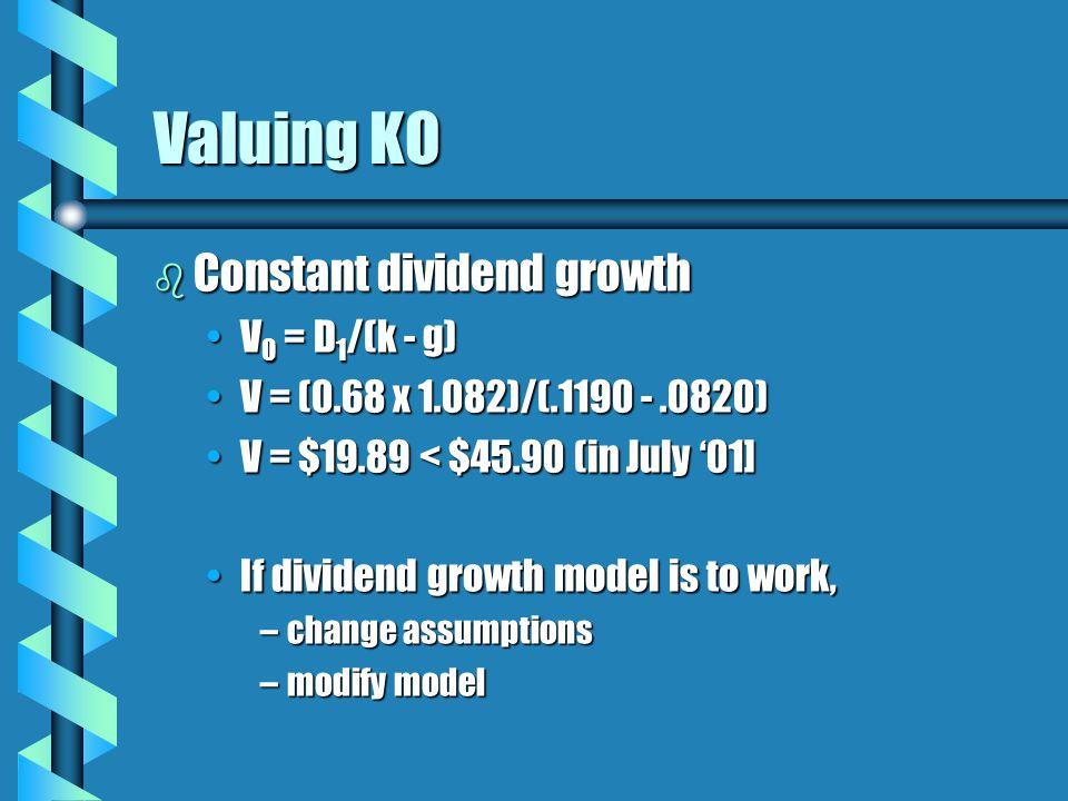 Valuing KO b Constant dividend growth V 0 = D 1 /(k - g)V 0 = D 1 /(k - g) V = (0.68 x 1.082)/(.1190 -.0820)V = (0.68 x 1.082)/(.1190 -.0820) V = $19.89 < $45.90 (in July '01]V = $19.89 < $45.90 (in July '01] If dividend growth model is to work,If dividend growth model is to work, –change assumptions –modify model