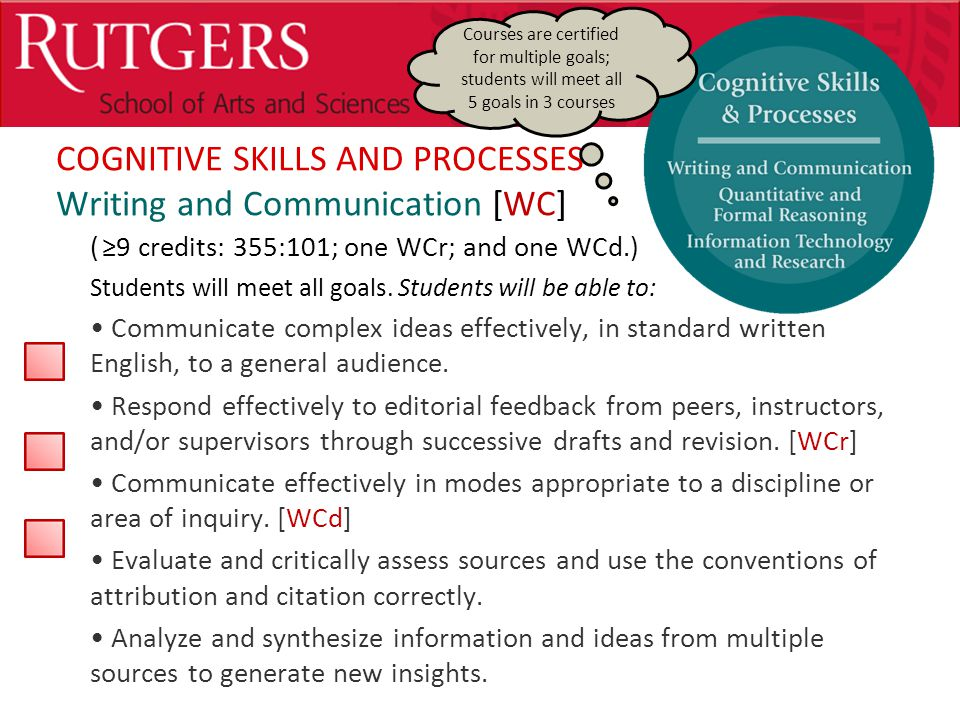 Optional Presentation Title COGNITIVE SKILLS AND PROCESSES Writing and Communication [WC] ( ≥9 credits: 355:101; one WCr; and one WCd.) Students will meet all goals.