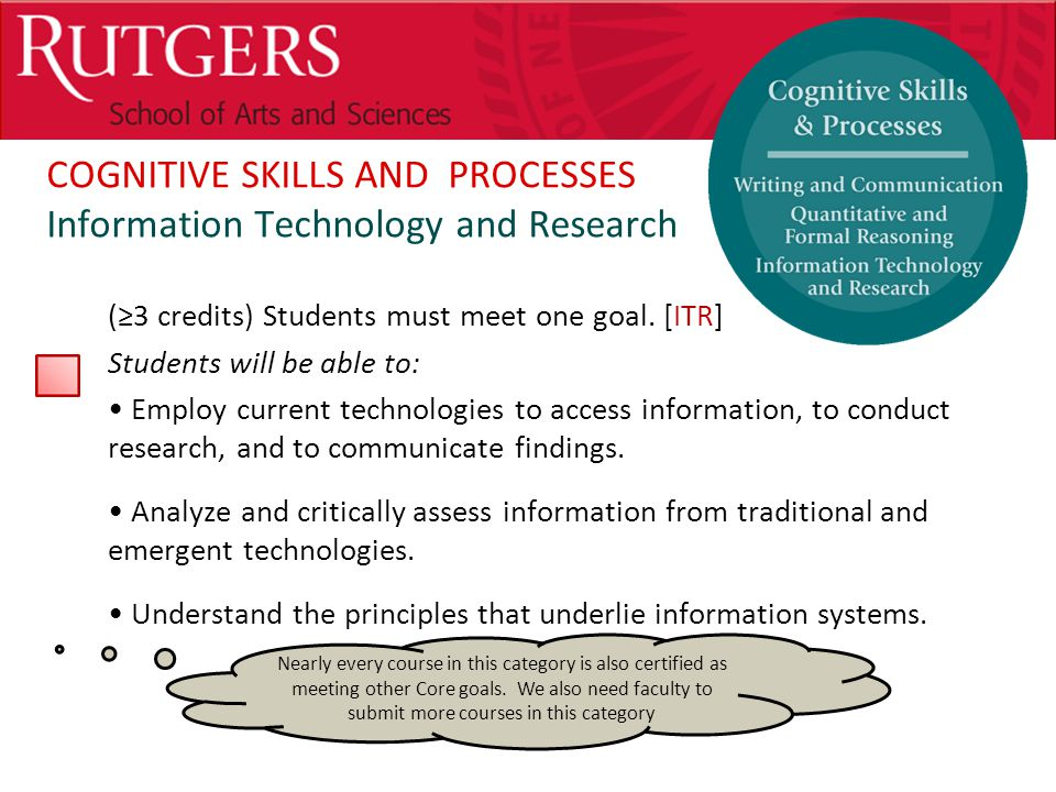 Optional Presentation Title COGNITIVE SKILLS AND PROCESSES Information Technology and Research (≥3 credits) Students must meet one goal.