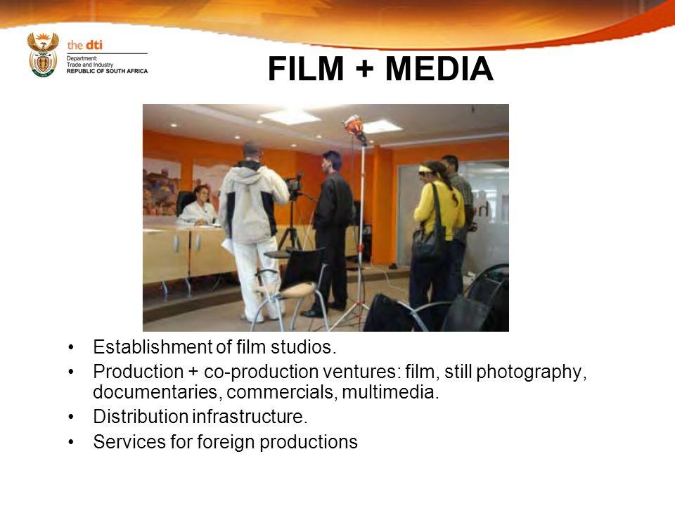 FILM + MEDIA Establishment of film studios.