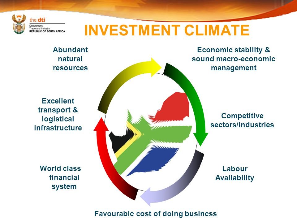 INVESTMENT CLIMATE Economic stability & sound macro-economic management Competitive sectors/industries Favourable cost of doing business Labour Availability World class financial system Excellent transport & logistical infrastructure Abundant natural resources