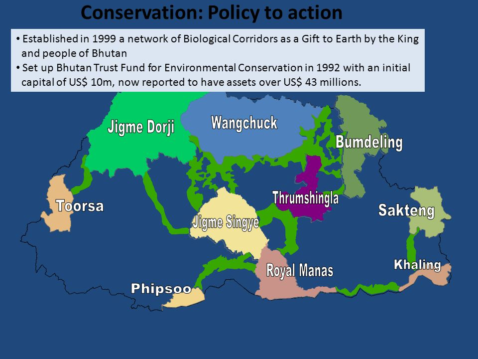 Conservation: Policy to action Established in 1999 a network of Biological Corridors as a Gift to Earth by the King and people of Bhutan Set up Bhutan Trust Fund for Environmental Conservation in 1992 with an initial capital of US$ 10m, now reported to have assets over US$ 43 millions.
