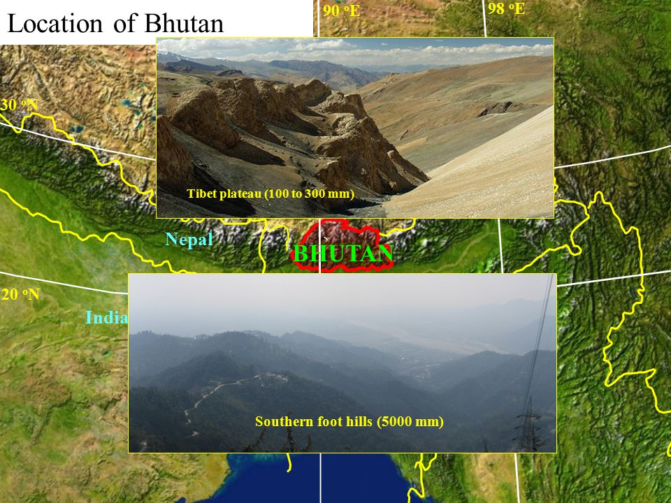 Bhutan straddles two biogeographic realms - Indomalayan (Oriental) region consisting of the lowland subtropical forests of South and Southeast Asia - Palearctic realms consisting of conifer forests and alpine meadows of northern Asia and Europe -72% Forest cover