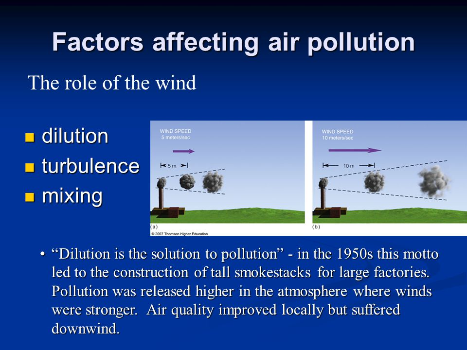 Factors affecting air pollution dilution dilution turbulence turbulence mixing mixing Dilution is the solution to pollution - in the 1950s this motto led to the construction of tall smokestacks for large factories.