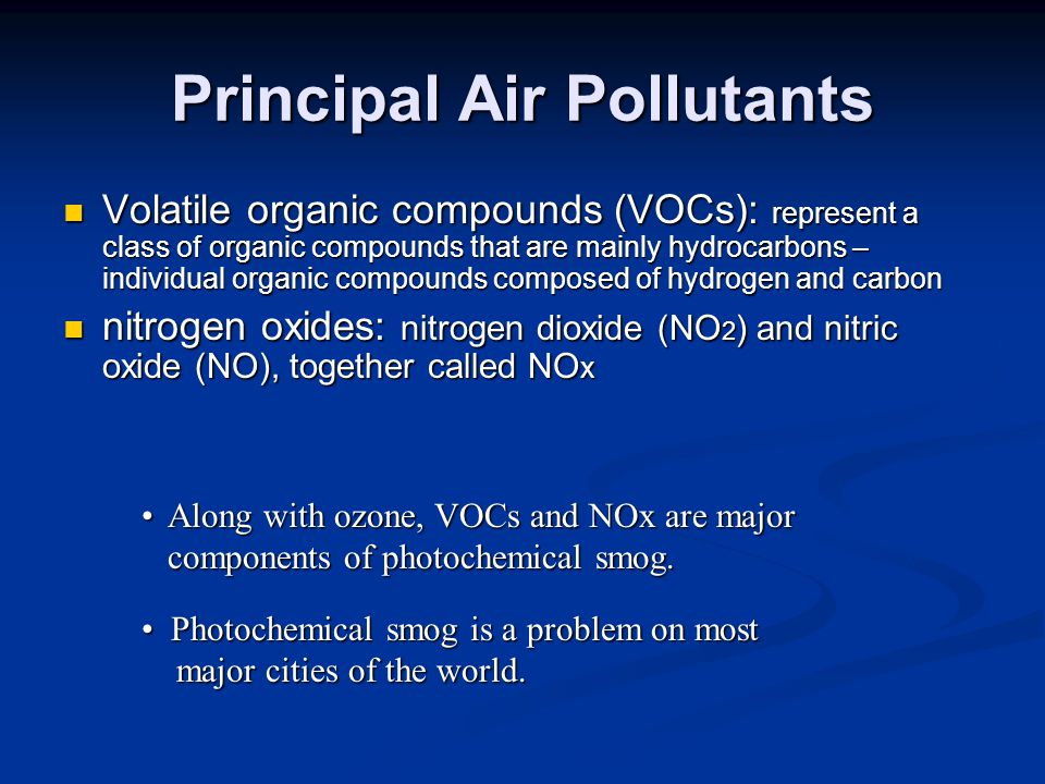 Principal Air Pollutants Volatile organic compounds (VOCs): represent a class of organic compounds that are mainly hydrocarbons – individual organic compounds composed of hydrogen and carbon Volatile organic compounds (VOCs): represent a class of organic compounds that are mainly hydrocarbons – individual organic compounds composed of hydrogen and carbon nitrogen oxides: nitrogen dioxide (NO 2 ) and nitric oxide (NO), together called NO x nitrogen oxides: nitrogen dioxide (NO 2 ) and nitric oxide (NO), together called NO x Along with ozone, VOCs and NOx are major components of photochemical smog.Along with ozone, VOCs and NOx are major components of photochemical smog.